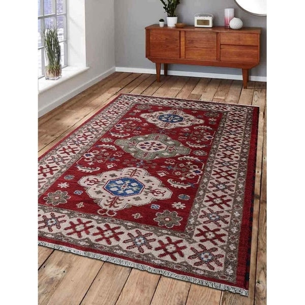 Persian Hand Knotted Nain Wool And Silk Area Rug Ebth: Shop Hand Knotted Afghan Wool And Silk Oriental Area Rug