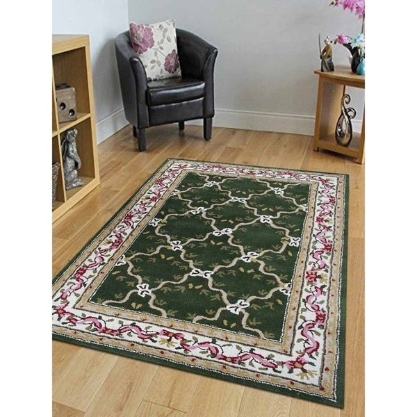 Shop Beige Wool Hand Knotted Oriental Persian Area Rug 6: Shop Hand Tufted Wool Area Rug Oriental Green Beige