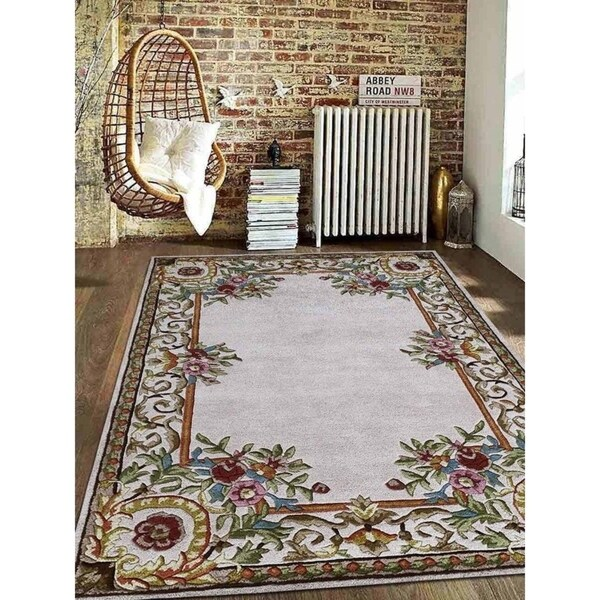 Shop Beige Wool Hand Knotted Oriental Persian Area Rug 6: Shop Hand Tufted Wool Area Rug Oriental Beige