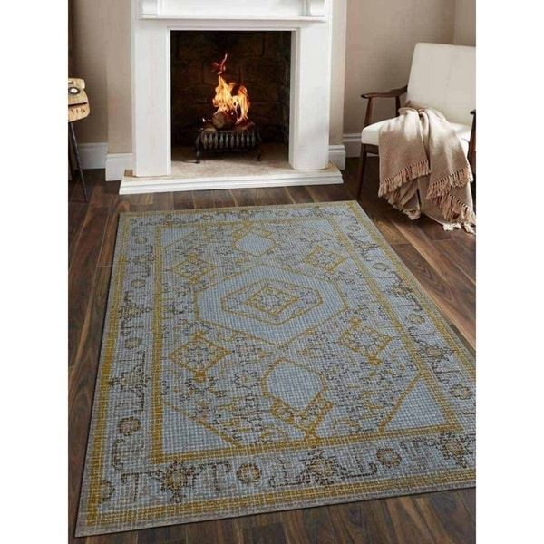 Hand Tufted Agra Red Gold Wool Rug 8 Round: Shop Hand Tufted Wool Area Rug Oriental Light Blue Gold