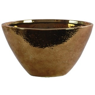 Hammered Pattern Stoneware Vase With Tapered Bottom, Copper