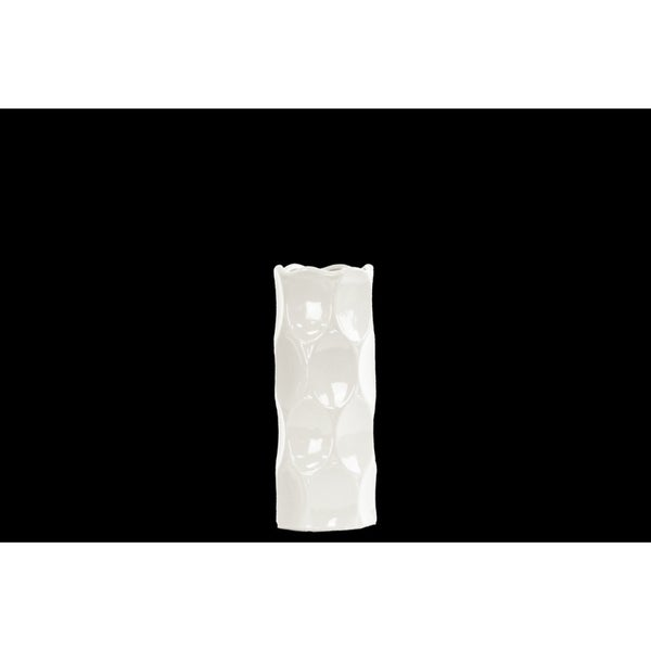 Cylindrical Shape Ceramic Vase With Dimpled Sides, Small, White
