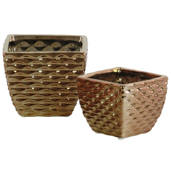 Ceramic Square Vase with Embossed Wave Pattern, Set Of 2, Copper