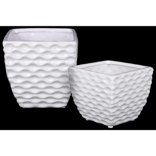 Ceramic Square Vase with Embossed Wave Pattern, Set Of 2, White
