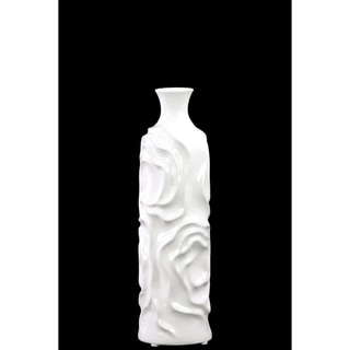 Ceramic Round Vase With Wrinkled Sides, Medium, White