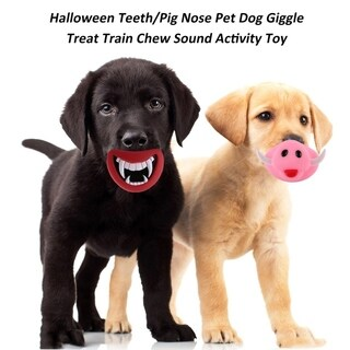 Halloween Teeth/Pig Nose Pet Giggle Treat Train Chew Sound Activity Toy