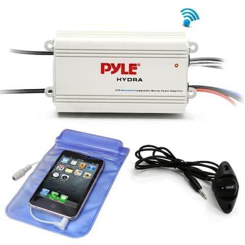 Pyle PLMRMB4CW Auto 4-Ch. Bridgeable Marine Amplifier 200 Watt RMS 4 OHM Stereo with Wireless Bluetooth & Powerful Prime Speaker