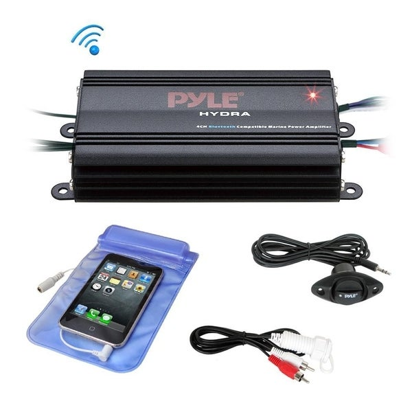 Pyle PLMRMB4CB Auto 4-Ch. Bridgeable Marine Amplifier 200 Watt RMS 4 OHM Wireless Bluetooth