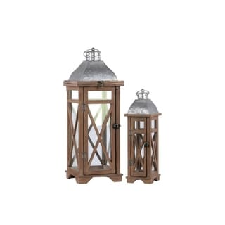 Square Shaped Wooden Lantern With Cross Design Body, Set Of 2, Natural Brown and Gray