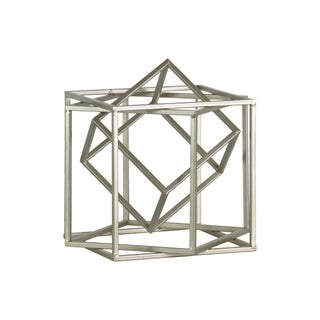 Metal Cube Abstract Sculpture in Silver Finish