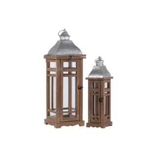 Traditional Wooden Lantern With Galvanized Top, Set Of 2, Natural Brown