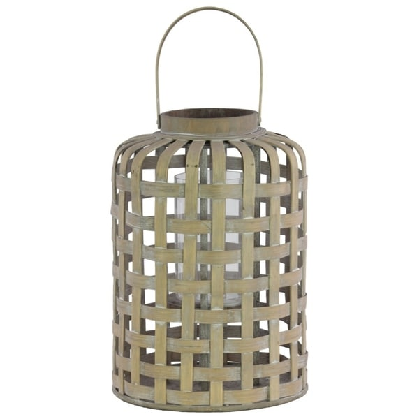 Wood Round Lantern with Lattice Design Body and Handle, Tan Brown