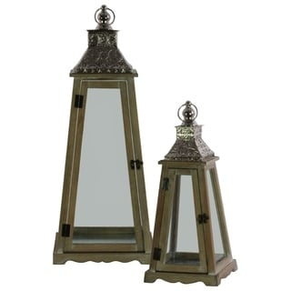 Wood Pyramidal Lantern with Floral Designing on Top, Set of Two, Brown