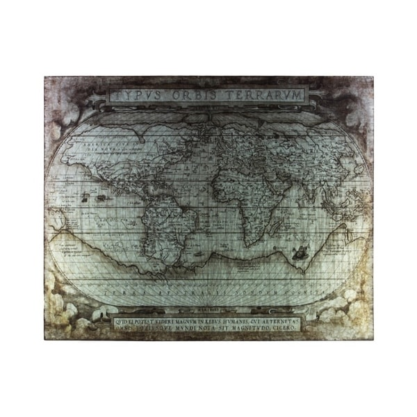 """Metal Etched Painting of """"Tyous Orbis Terrarum"""" Map, Galvanized Gray"""