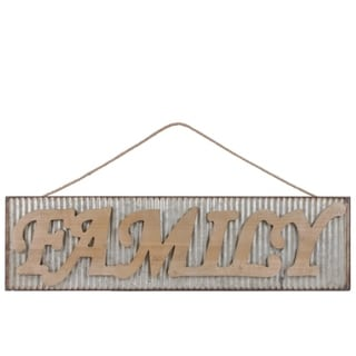 "Metal Rectangular Wall Art with Wood Alphabet ""FAMILY"", Galvanized Gray"
