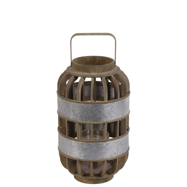 Wood Round Tall Lantern with Lattice Design Body and Handle, Brown