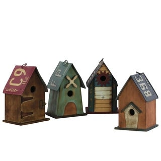 Wood Rectangle Birdhouse with Metal Roof and 1 Hole, Assortment of Four, Multicolor