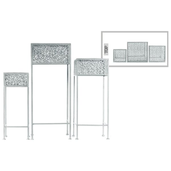 Square Shaped Metal Plant Stand With Pierced Body, Set Of 3, Gray
