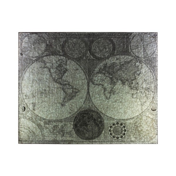 """Metal Etched Painting of """"Old Century"""" Map, Galvanized Gray"""
