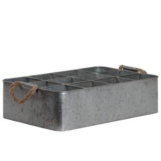 12 Slots Rectangular Metal Tray With Rope Handles, Galvanized Gray