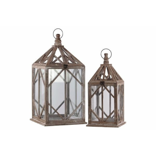 Wood Square Lantern with Diamond Design Body, Set of Two, Brown
