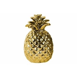 Ceramic Pineapple Figurine with Embossed Lattice Design, Gold