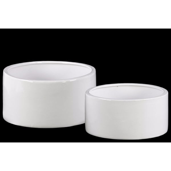 Ceramic Round Pot With Combed Gloss Finish, Set of Two, White
