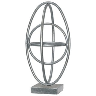 Four Interconnected Metal Orb On Square Base, Large, Silver