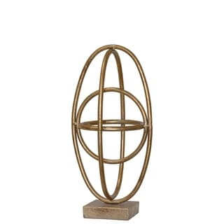 Four Interconnected Metal Orb On Square Base, Small, Gold