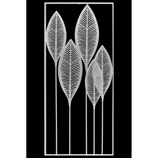 Metal Veined Leaves Wall Decor in Portrait Orientation, White