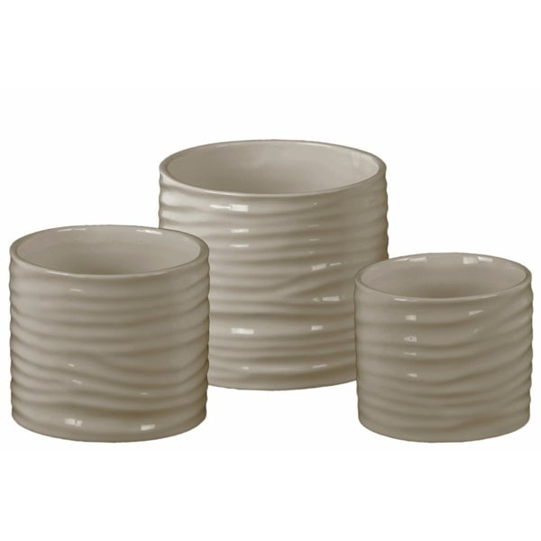 Ceramic Low Cylindrical Pot with Ribbed Design Body, Set of Three, Taupe