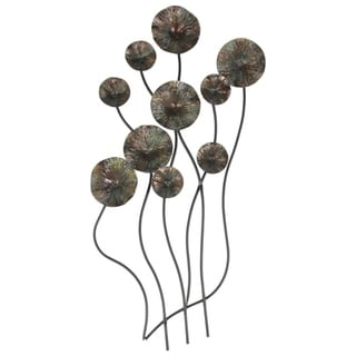 Floral Metal Wall Art Sculpture With Long Stems, Gray & Black