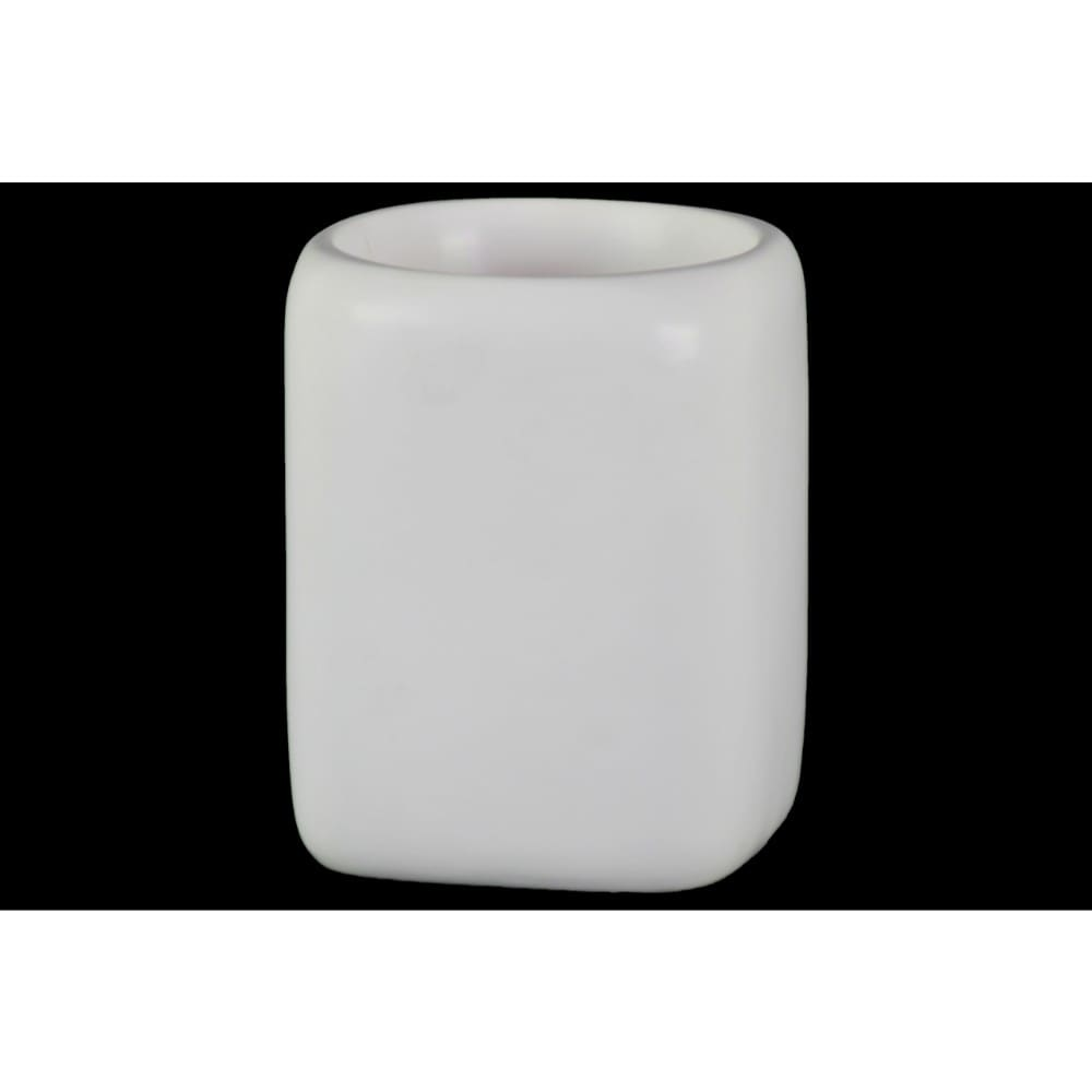 Round Shaped Ceramic Pot With Double Wall Construction Large White
