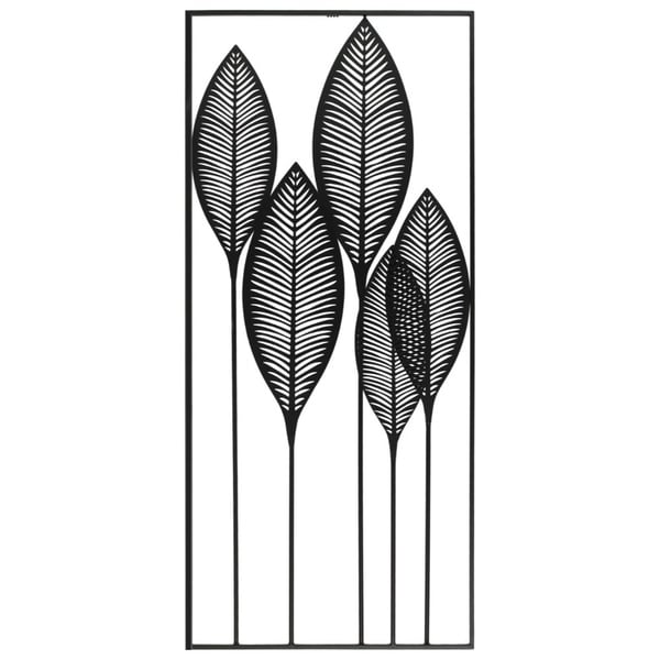 Metal Veined Leaves Wall Decor in Portrait Orientation, Black