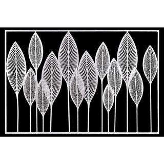 Metal Veined Leaves Wall Decor in Landscape Orientation, White