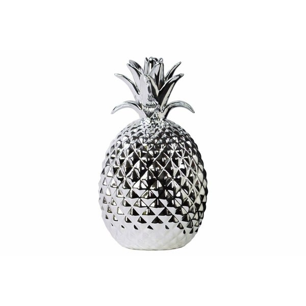 Porcelain Pineapple Figurine, Large, Silver