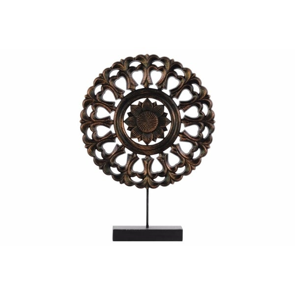 Wood Round Buddhist Wheel Ornament on Rectangular Stand, Bronze