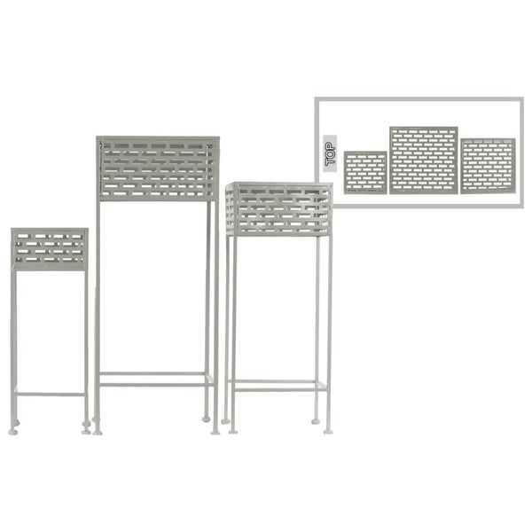 Cutout Patterned Metal Plant Stand, Set Of 3, Gray
