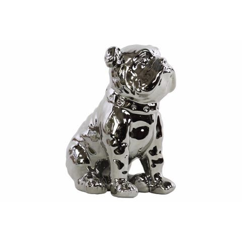 Ceramic Sitting British Bulldog Figurine with Collar, Silver