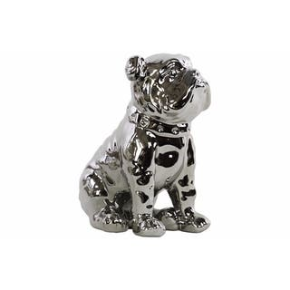 Ceramic Sitting British Bulldog Figurine with Collar, Silver