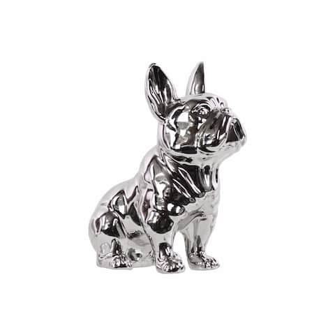 Ceramic Sitting French Bulldog Figurine with Pricked Ears, Silver