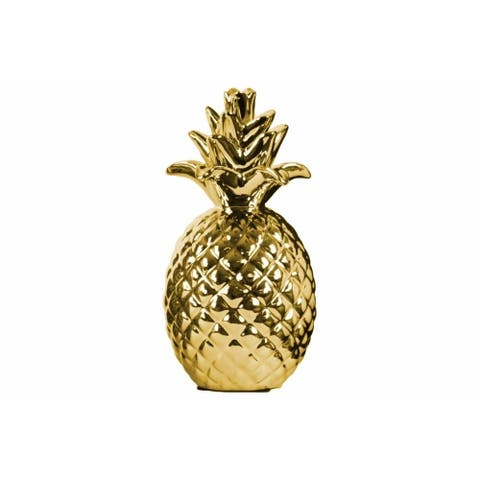 Ceramic Pineapple Figurine with Pimpled Polished Chrome Finish, Gold