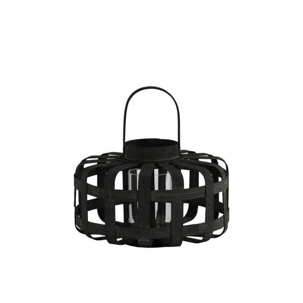 Wood Low Round Lantern with Lattice Design Body and Handle, Black