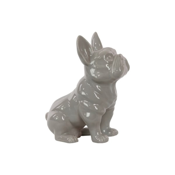 Ceramic Sitting French Bulldog Figurine with Pricked Ears, Glossy Gray