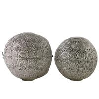 Decorative Ball Figurine with Pierced Circle Design, Set of 2, Metallic Silver