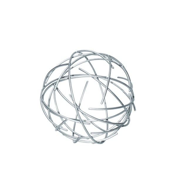 Metal Orb Sculpture With Broken Rings, Coated Finish Silver