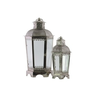Metal Hexagonal Lantern with Pierced Metal Top & Ring Handle,Set of 2, Antique Silver