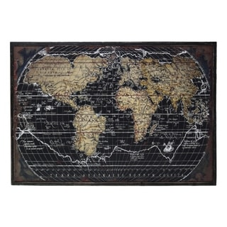 "Wooden Rectangular Gicl�e Print of ""World Atlas"" Wall Art, Black"
