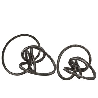 Metal Curl Abstract Tabletop Sculpture, Gunmetal gray, Set of 2