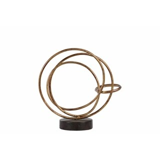 Metal Round Intertwined Rings Abstract Sculpture on Round Base, Small